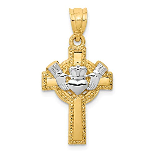 Gold Celtic Claddagh Cross (14k Two Tone Yellow Gold Irish Claddagh Celtic Knot Cross Religious Pendant Charm Necklace Fine Jewelry For Women Gift Set)