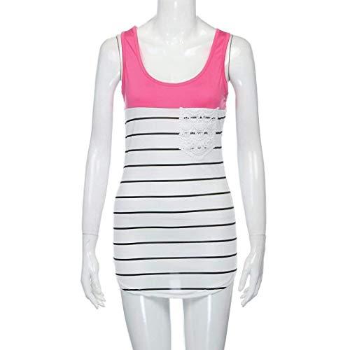 Large Plage Rayures Costume Col Debardeur Et Mlanges Longues O Pink Mode Chic Couleurs Femme Sleeveless Casual Elgante Top Blusen Haut Tunique qZpnqfw7z