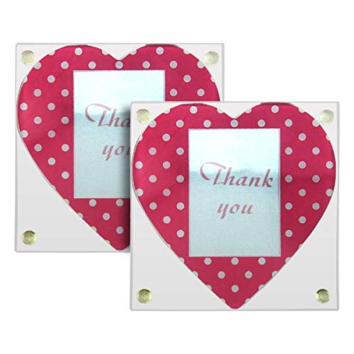 - Glass Picture Frame Coasters - Hearts, Thank You Gift, 1.5x2 Photo, Set of 2 - #810.