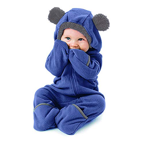 Clearance!!Toddler Infant Baby Girls Boys Cartoon Animals Romper Warm Hoodie Zipper Jumpsuit Party Costume Cosplay (Blue, 3-6 Months)