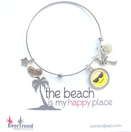 Beach Places (The Beach is my Happy Place Boxed Expandable Bangle Bracelet, Emoji bangle)