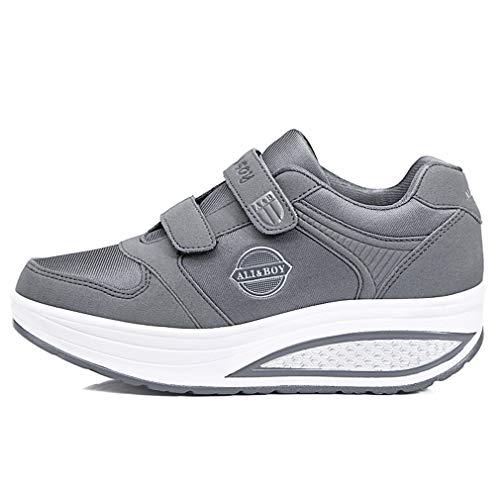 amp; Wedges Platform Shoes Womens Sneakers Orlancy 366 Sports Walking Lace Up Grey Leather Mesh 0wYEYxaHZ