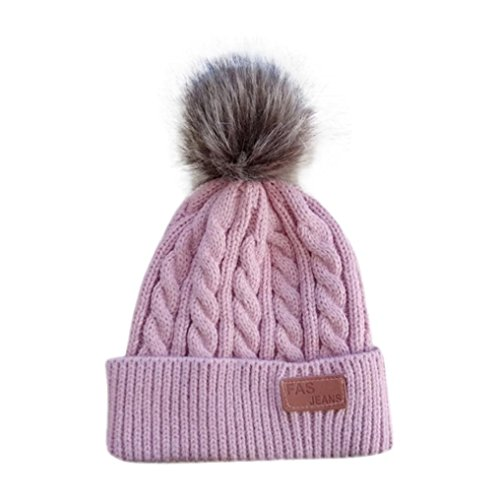 gbsell-baby-boys-girls-beanie-cap-knitted-ball-warm-hats-hot-pink