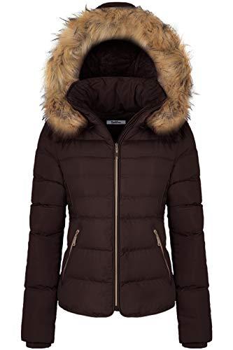 BodiLove Women's Fur Hooded Utility Jacket with Zipper and Fannel Lining Chocolate M (Zara Parka Jacket Women)