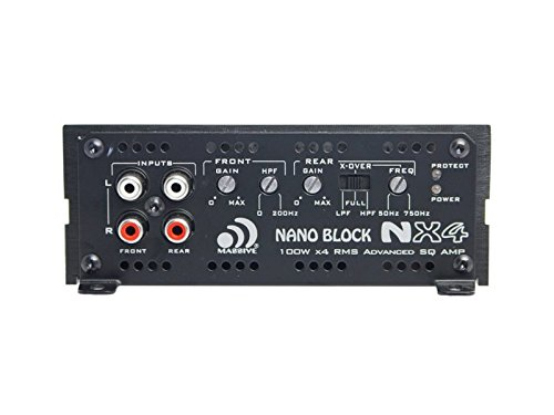 Massive Audio NX4-ES Car Audio 800W Max 200w x 4 RMS Nano ES Series 4 Channel Amplifier Class A/B Micro Footprint