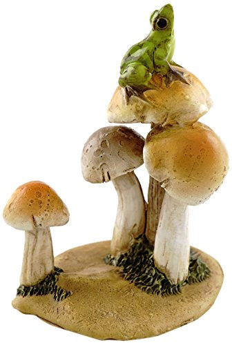 Top Collection Miniature Fairy Garden and Terrarium Statue, Frog on Mushrooms