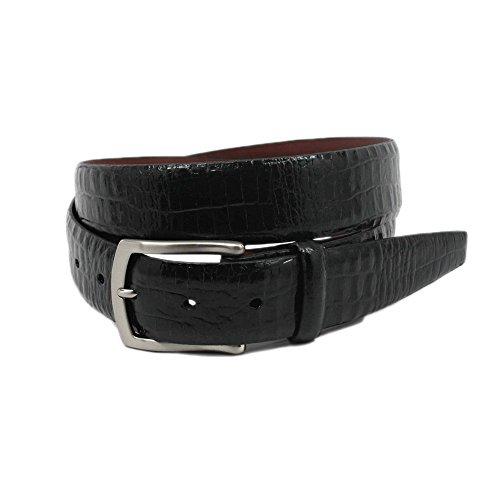 Torino Alligator Embossed Glazed Calfskin Belt in Black (34, Black) - Glazed Alligator Belt