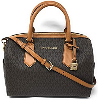 2b5fc00abe78 Michael Kors Hayes Large Duffle Satchel Bag Brown MK Signature