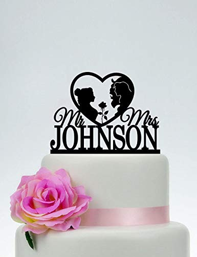 KISKISTONITE Cake Decorating Supplies, Beauty and The Beast,Disney Wedding Cake Topper,Mr and Mrs Cake Topper,Prince and Princesses Cake Topper,Belle Silhouette,Custom Topper,Party Favors (Beauty And The Beast Party Food Ideas)