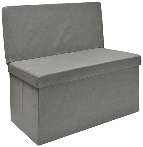 The FHE Group Folding Storage Bench with Back, 30 by 15 by 29-Inch, Grey Suede