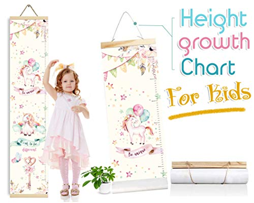 Baby Growth Chart for Girls, Height Measure Ruler for Kids, Canvas Room Accessories Decoration for Babies Calculator Chart Wall (24 x 120) (Unicorn)