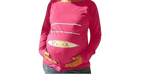 Sulifor Ropa de Maternidad de Manga Larga de Maternidad para Mujer Patr/ón de Dibujos Animados Ropa de beb/é,Ropa de Embarazo Suelta Grande Talla de Verano,c/ómodo y Bonito
