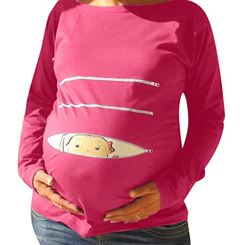 Pink Plaid Announcement - Cute Tops for Pregnancy, Long Sleeve Maternity T Shirt Funny Baby Pregnancy Tee for Expecting Mothers Hot Pink