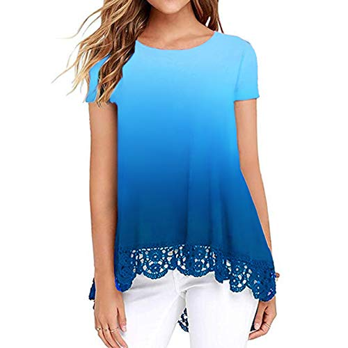 (Women Tops Summer Crew Neck Shirt Short Sleeve Tunic Blouses Tees Ombre Blue L)