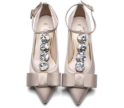 Good MNII apricot Leather High Women's Stiletto Party Quality Rhinestones Heels Wedding Fashion Dress Crystal Shiny Pumps Straps wr6TRqawW
