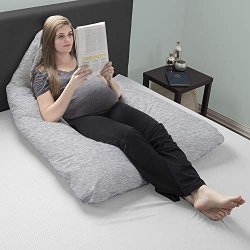 Lavish Home Pregnancy Pillow- Full Body Maternity Pillow with Removable Cover and Contoured U-Shape Design for Back/Body Support Collection (Gray) by Lavish Home (Image #3)