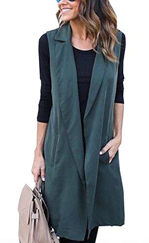 Longue Simple Femme Cardigan Couleur Paon Overcoat sans Vert Vent Unie Manches Fashion Fashion Ceinture avec Coupe Manteaux PPxqwRr