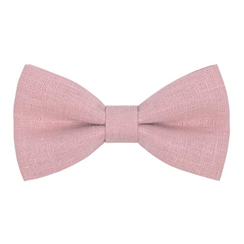 Linen Classic Pre-Tied Bow Tie Formal Solid Tuxedo, by Bow Tie House (Small, Blush Pink)