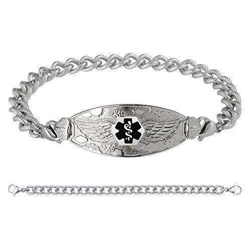Divoti Custom Engraved Medical Alert Bracelets for Women, Stainless Steel Medical Bracelet, Medical ID Bracelet w/Free Engraving - Angel Wing Tag w/Textured Curb - Bracelet Textured Stainless Steel