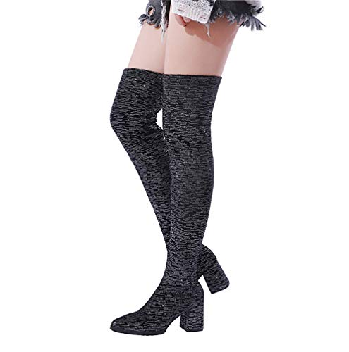 e4c94c5c245 Stupmary Women Over Knee High Socks Boots Chunky Block Heels Thigh High  Stretch Boots Glitter