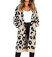 BTFBM Women Long Sleeve Open Front Leopard Knit Long Cardigan Casual Print Knitted Maxi Sweater C...