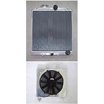 Radiator+Shroud+Fan For Honda Civic EK EG B16 B18 IN//OUT PIPE 32mm 1992-2000