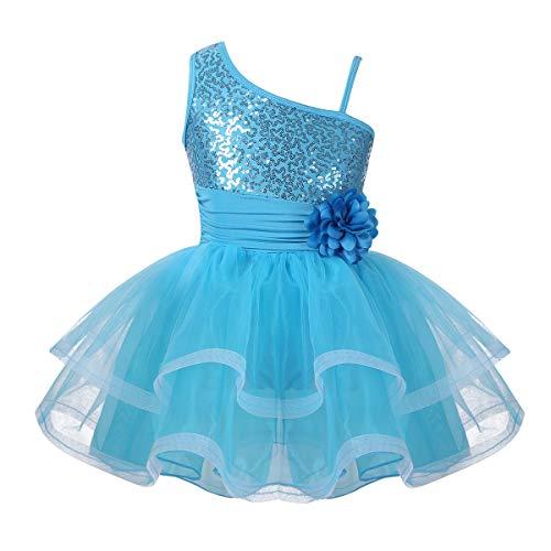 FEESHOW Girls Sequined Camisole Ballet Dress Leotard Chiffon Skirt Sparkly Fairy Dance wear Costumes (3-4, One Shoulder Light Blue) -