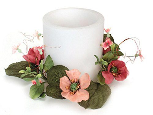 - Pack of 4 Bright Pink Artificial Silk Poppy Flower Pillar Candle Rings 12