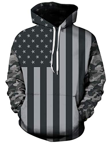 TUONROAD Mens Athletic Hoodie Womens 3D Graphic Sweatshirts Patriotic American Flag Stars Stripes Dark Green Camo Camouflage Casual Loose Hip Hop Realistic Drawstring Hooded Sweaters with Big Pocket
