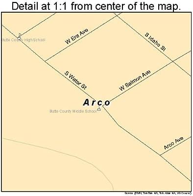 Amazon Com Large Street Road Map Of Arco Idaho Id Printed