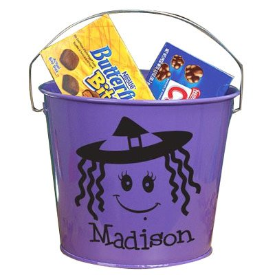 Personalized Purple Halloween Bucket, 5 Qt Powder Coated Bucket, Measures 8-1/2
