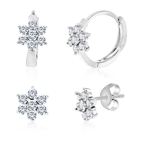 Boys Snowflake Costume Uk (Sterling Silver Cubic Zirconia Created Gemstone Stud & Flower Earring Gift Set (Cubic Zirconia))