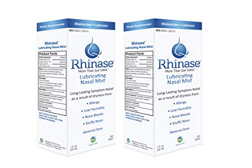 Rhinase Nasal Mist1 oz (2 Pack) for Dry Nose, Allergy and to Prevent Nosebleeds Caused by Nasal Dryness