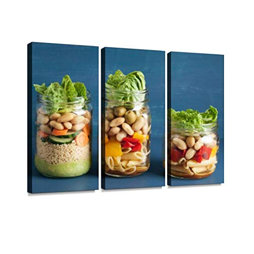 - Vegan Couscous and Pasta Salad in Mason Jars with Vegetables Beans Print On Canvas Wall Artwork Modern Photography Home Decor Unique Pattern Stretched and Framed 3 Piece