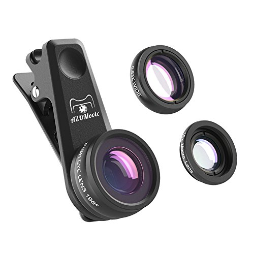 Azomovic Cell Phone Lens Kit, 3 in 1  Camera Lens Kit, 0.63X Wide Angle Lens +15X Macro Lens +198° Fisheye Lens, Professional for iPhone 8,7,6, 6s, X, Samsung, HTC, Nexus, iPad & Smartphones