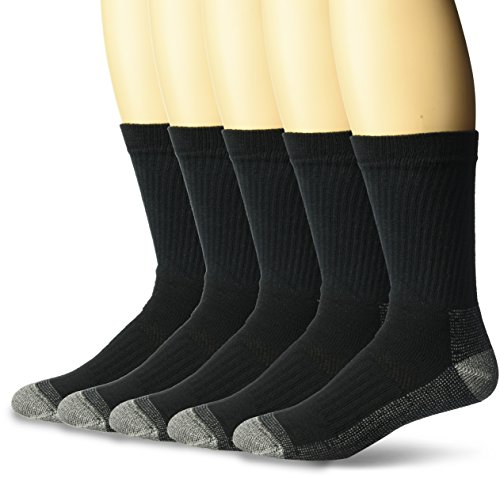 (Fruit of the Loom Men's Big and Tall Cotton Work Gear Crew Socks | Cushioned, Wicking, Durable | 5 Pack, Black, Shoe Size: 11-15)