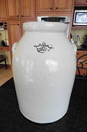 Glazed Antique - Antique 6 Gallon Crock Stoneware salt glazed Crown stamp rounded ? butter churn