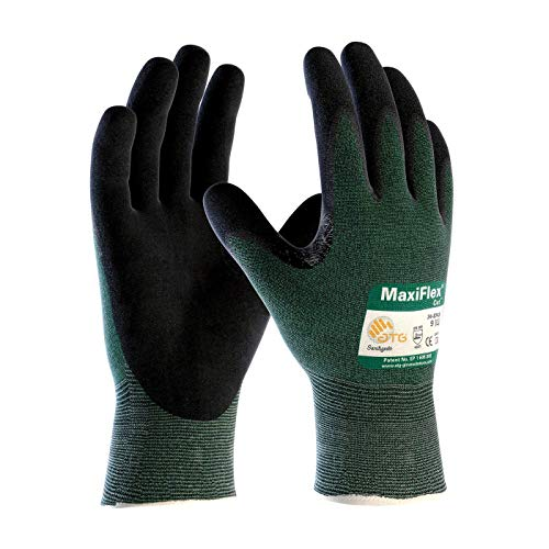 34-8743 Cut Resistant Nitrile Coated Work Gloves with Green Knit Shell and Premium Nitrile Coated Micro-Foam Grip on Palm & Fingers. Sizes S-XL (Medium) ()
