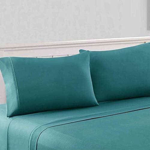 RoyalLinenCollection Jupe de lit 100% Coton égyptien 600 Fils Bleu Sarcelle Taille XL 56 cm