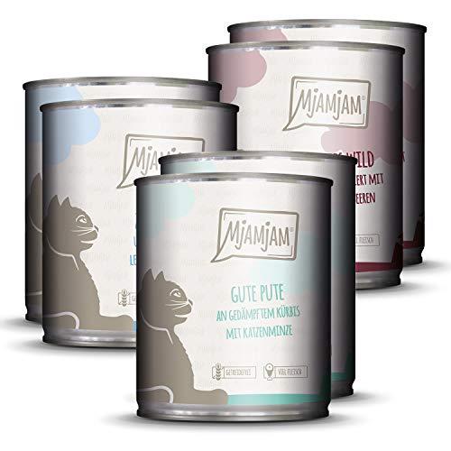 MjAMjAM – Premium Nassfutter für Katzen – Mixpaket 2 – Wild & Kaninchen, Pute, Ente & Geflügel, 6er Pack (6 x 800 g…