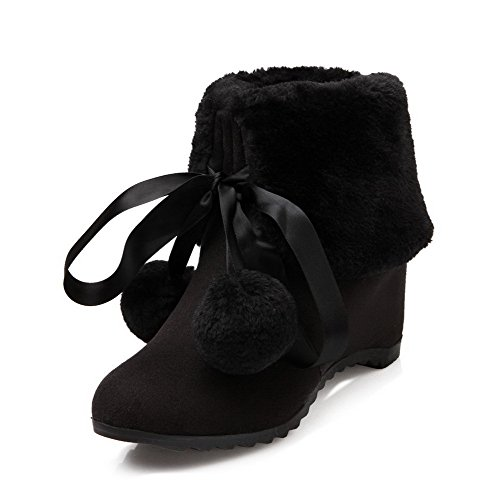 Suede Women's Black Up High WeiPoot Solid Boots Imitated Top Lace Heels Low fAqA4YU
