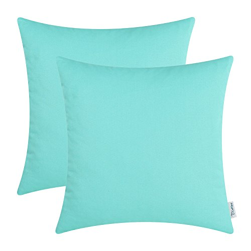 CaliTime Pack of 2 Throw Pillow Covers Cases for Couch Sofa Bed Solid Dyed Soft Cotton Canvas 18 X 18 Inches Turquoise