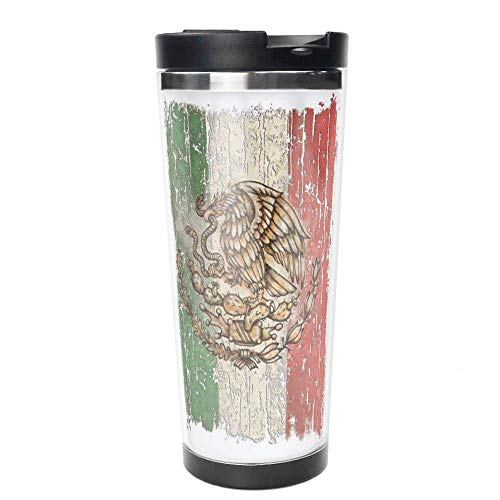 Mexican Flag Mexico Grunge Double Wall Travel Mug Insulated Stainless Steel Tumbler 16 oz Coffee Cup Flask for Hot & Cold Drinks.