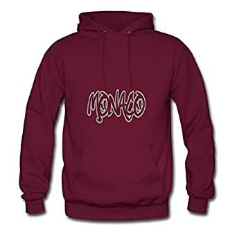Women Sweatshirts Monaco Graffiti Outline Printed For Regular Sweatshirts-burgundy X-large