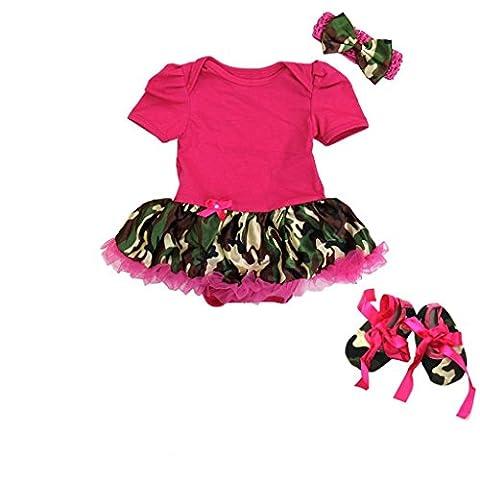 Baby Camouflage Camo Romper Bodysuit Tutu Medium Pink - Girls In Camo