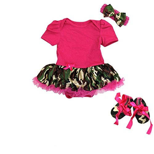 Baby Girl Pink Camo - Baby Camouflage Camo Romper Bodysuit Tutu Small Pink