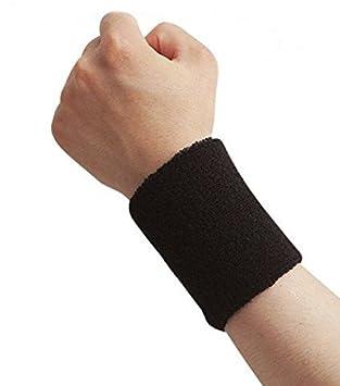 Cdet Pulsera de entrenamiento algodón banda de sudor de muñeca deportes baloncesto wristband sweatband Interior al aire libre yoga dance ejercicio,Negro