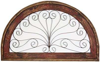 Half Moon Arch Rustic Architectural Wall Garden Window-Wood Iron-Red