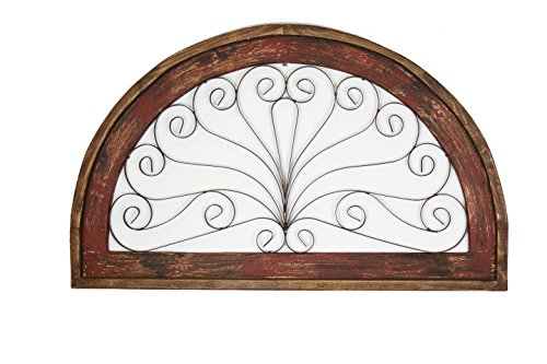 Half Moon Arch Rustic Architectural Wall Garden Window-Wood & Iron-Red - Mexican Rustic Iron