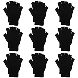 Cooraby 10 Pairs Half Finger Gloves Winter Warm Fingerless Stretchy Knit Gloves for Women and Men